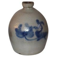 19thc Cobalt Blue Painted Floral Pottery Jug
