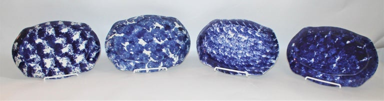 19th Century Collection of  Four Design Sponge Ware Platters For Sale 3