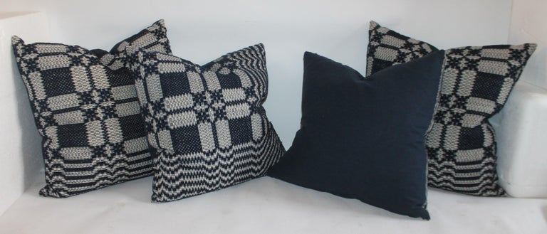 Folk Art 19th Century Collection of Indigo Coverlet Pillows, 4 For Sale