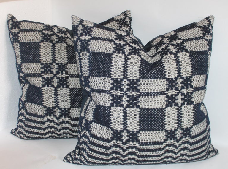 Hand-Woven 19th Century Collection of Indigo Coverlet Pillows, 4 For Sale