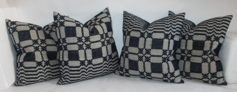Cotton 19th Century Collection of Indigo Coverlet Pillows, 4 For Sale