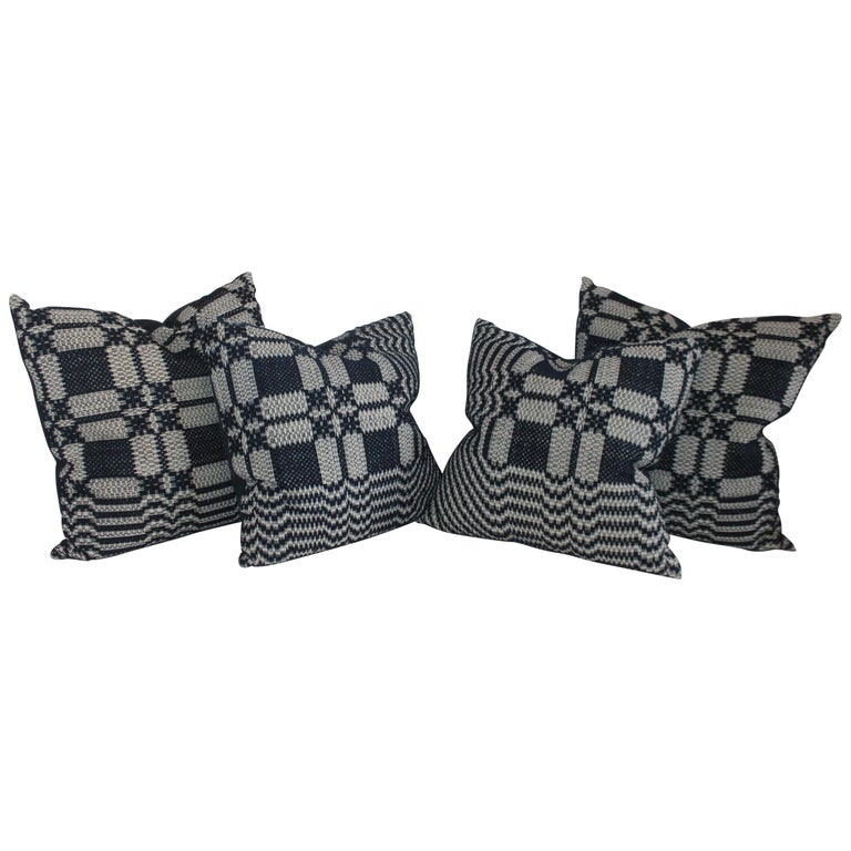19th Century Collection of Indigo Coverlet Pillows, 4 For Sale