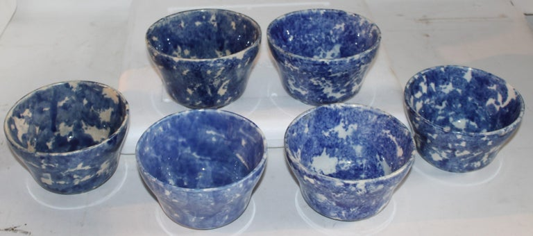 19thc collection of six sponge ware waste bowls in pristine condition. These are quite rare and hard to find in mint condition.