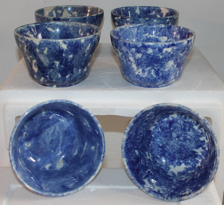 American 19thc Collection of Six Sponge Ware Waste Bowls For Sale