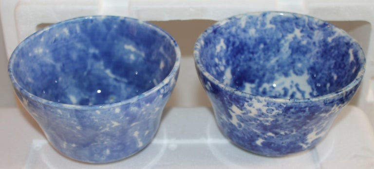Hand-Painted 19thc Collection of Six Sponge Ware Waste Bowls For Sale
