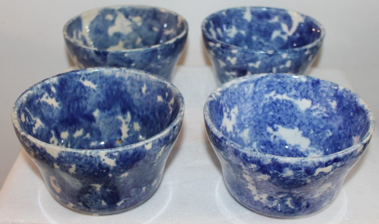 Pottery 19thc Collection of Six Sponge Ware Waste Bowls For Sale