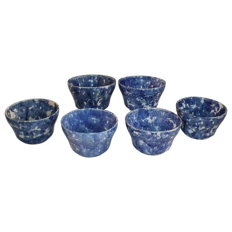19thc Collection of Six Sponge Ware Waste Bowls For Sale