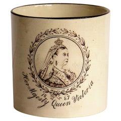 Commemarative Coffee Can Eathenware Queen Victoria Golden Jubilee, 1887