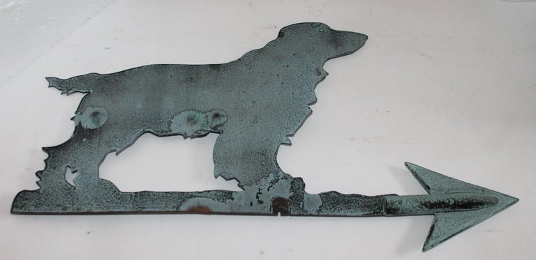 19th Century Copper Dog or Setter Weather Vane on Iron Stand In Good Condition For Sale In Los Angeles, CA