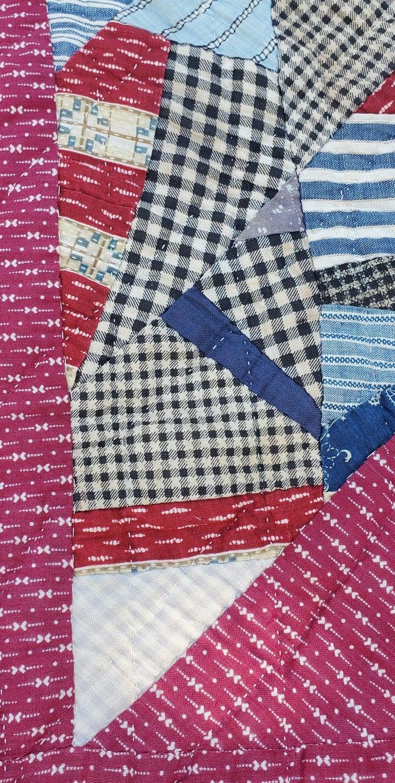 Cotton 19th Century Crazy Scrap Star Quilt For Sale
