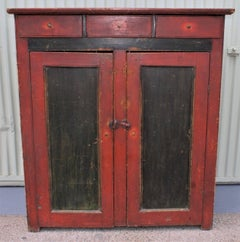 19th Century Cupboard with Original Paint from Vermont