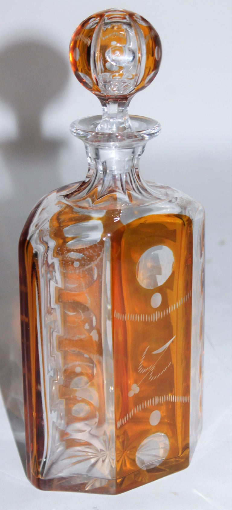 Modern 19th Century Cut Glass Bourbon Bottle with Lid For Sale