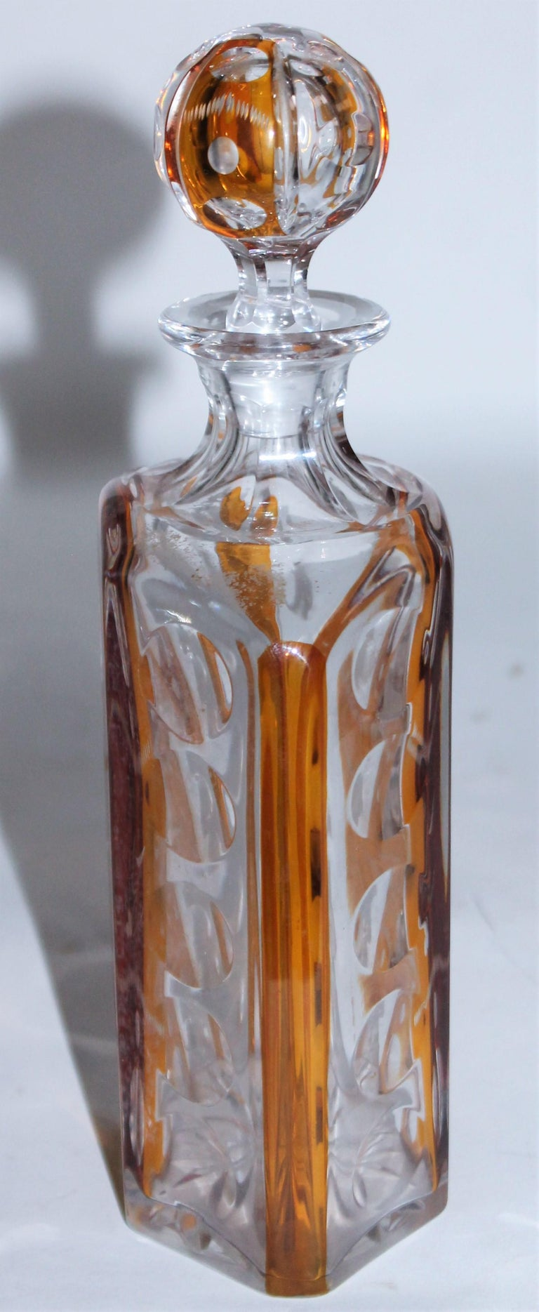 American 19th Century Cut Glass Bourbon Bottle with Lid For Sale