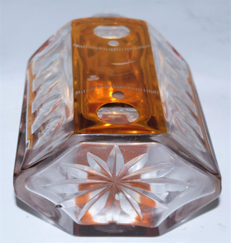 19th Century Cut Glass Bourbon Bottle with Lid In Good Condition For Sale In Los Angeles, CA