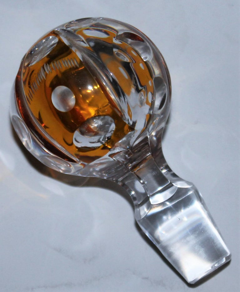 Late 19th Century 19th Century Cut Glass Bourbon Bottle with Lid For Sale