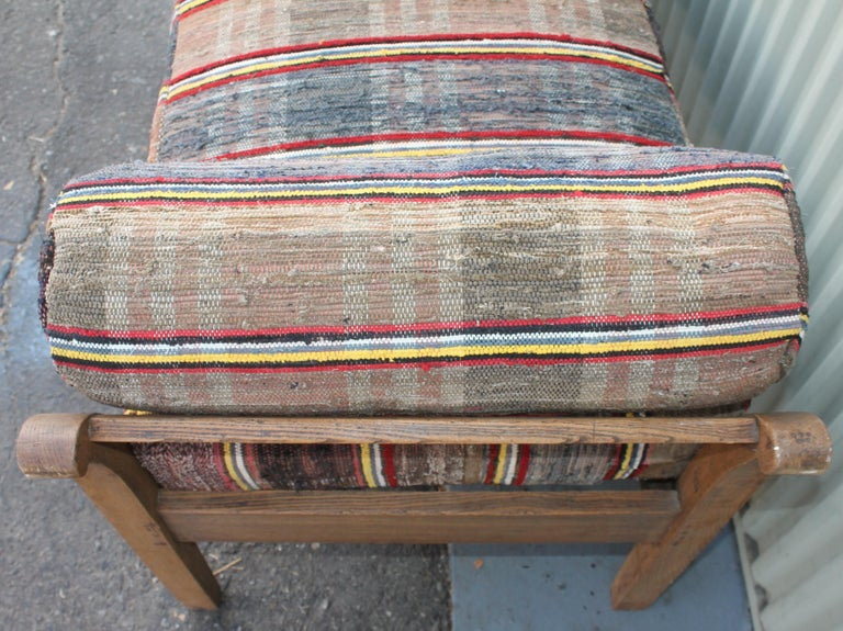 Adirondack 19thc Day Bed in Rag Rug Upholstery For Sale