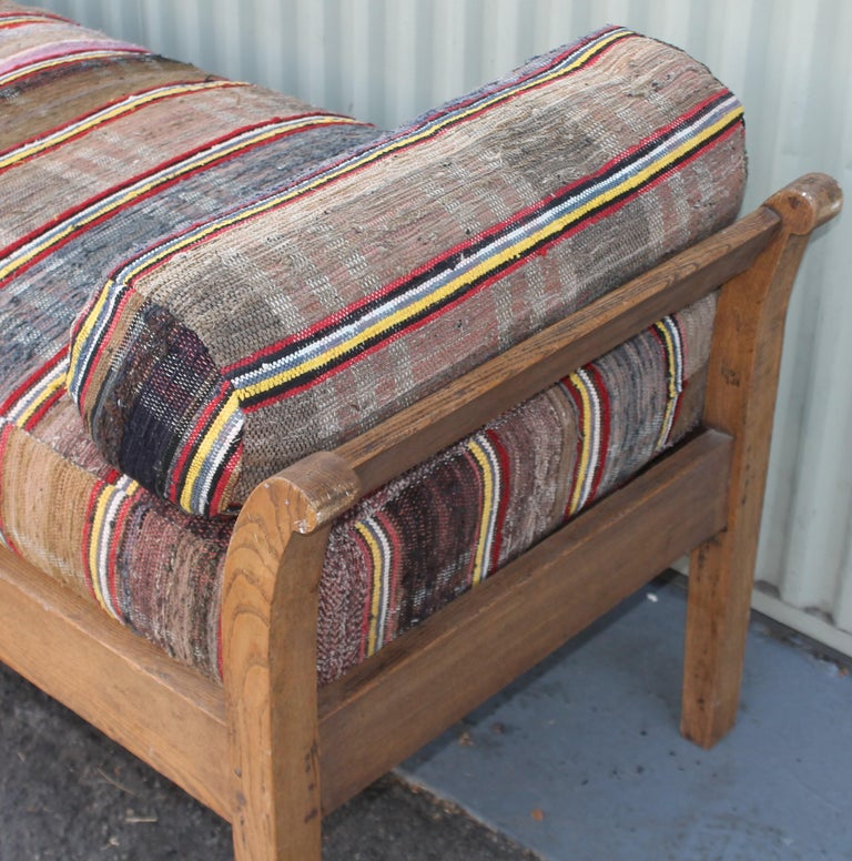 American 19thc Day Bed in Rag Rug Upholstery For Sale