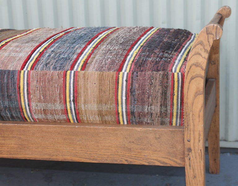 Hand-Crafted 19thc Day Bed in Rag Rug Upholstery For Sale