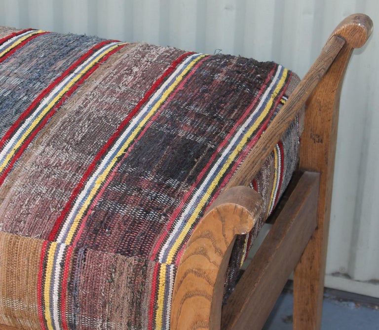 19th Century 19thc Day Bed in Rag Rug Upholstery For Sale