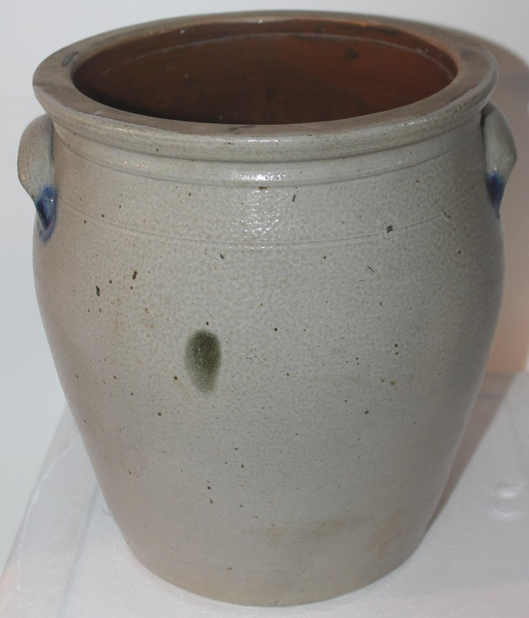 Hand-Crafted 19Thc Decorated Cowden & Wilcox 3 Gal. Crock with Cherries For Sale