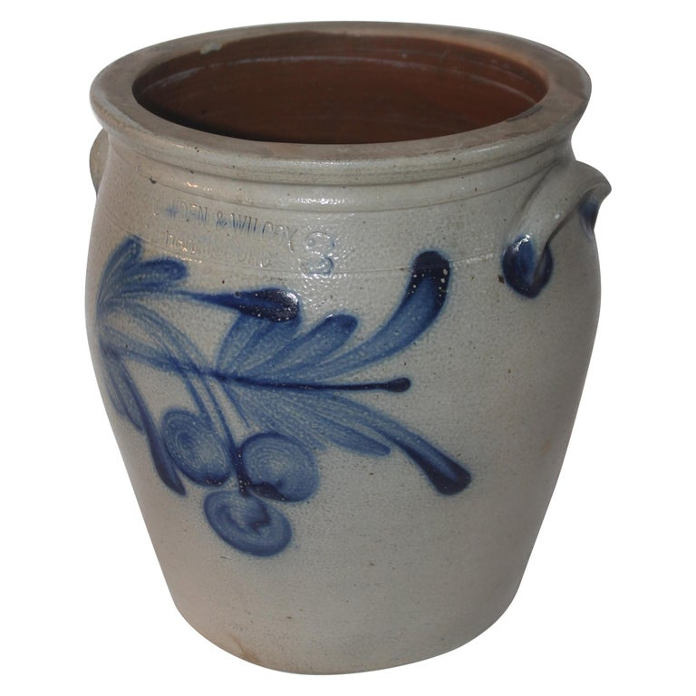 19Thc Decorated Cowden & Wilcox 3 Gal. Crock with Cherries For Sale