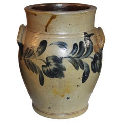 19thc Decorated Crock with Handles from Pennsylvania