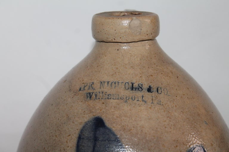 American 19th Century Decorated Salt Glaze Jug Signed Nichols Co.Williamsport, Pa. For Sale