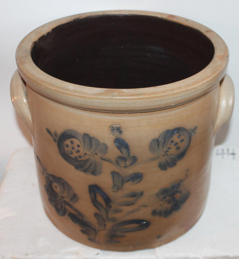 Folk Art 19th Century Decorated Stoneware Blue Decorated Crock For Sale