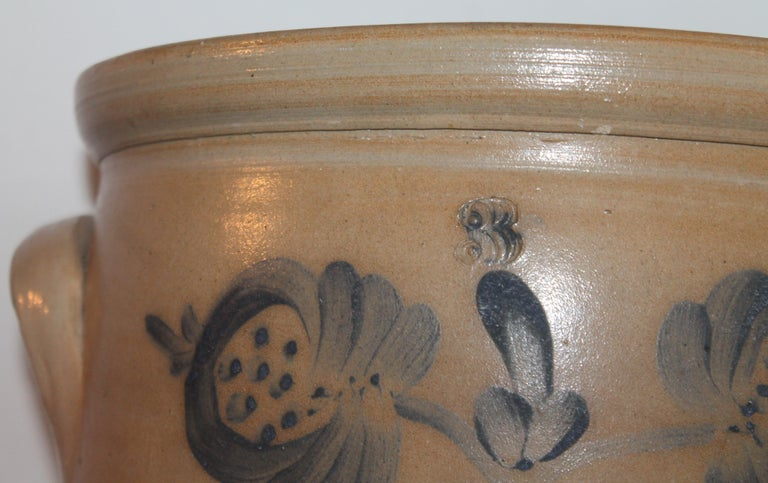 American 19th Century Decorated Stoneware Blue Decorated Crock For Sale