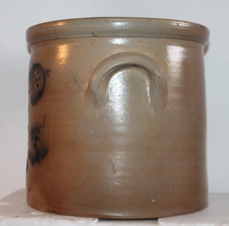 Hand-Crafted 19th Century Decorated Stoneware Blue Decorated Crock For Sale