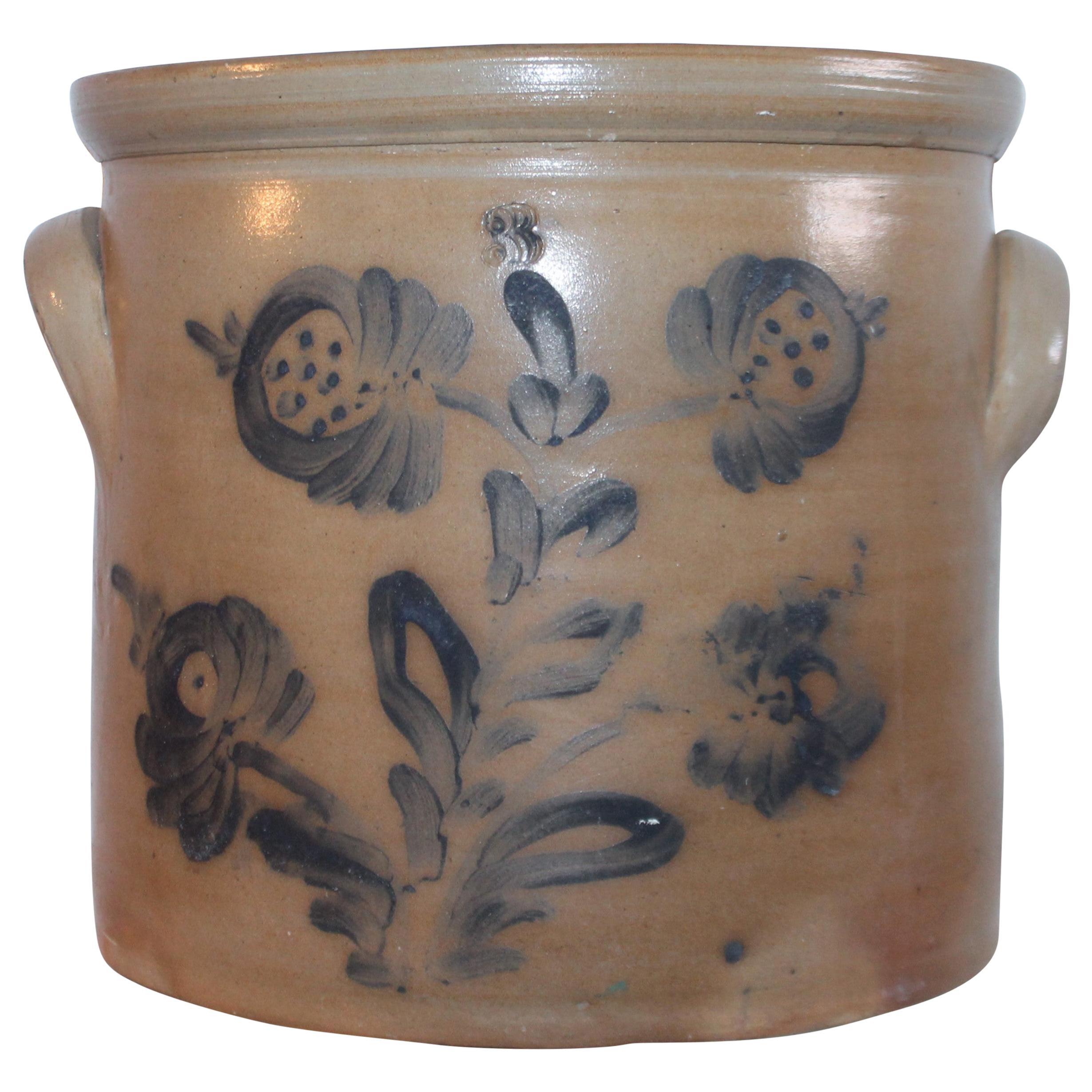 19th Century Decorated Stoneware Blue Decorated Crock
