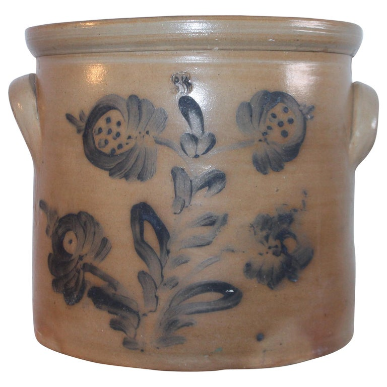 19th Century Decorated Stoneware Blue Decorated Crock For Sale