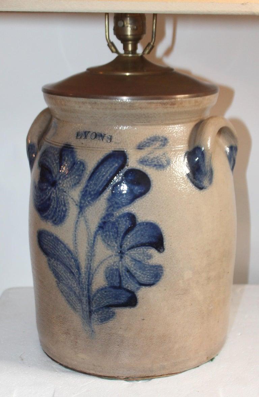 Adirondack 19th Century Decorated Stoneware Crock Lamp For Sale