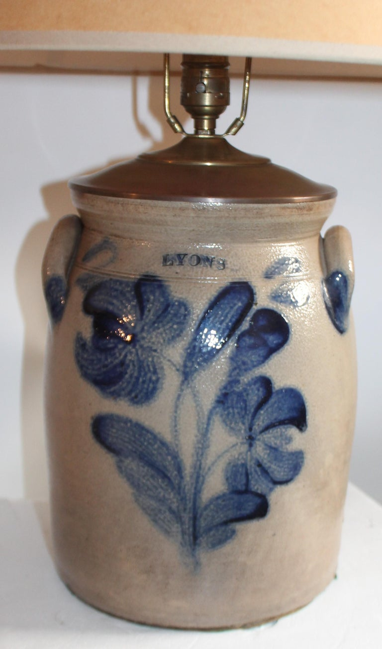 American 19th Century Decorated Stoneware Crock Lamp For Sale