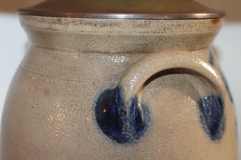 Pottery 19th Century Decorated Stoneware Crock Lamp For Sale