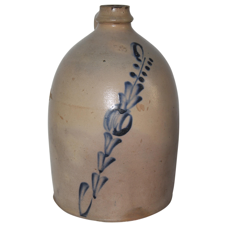 19thc Decorated Stoneware Jug