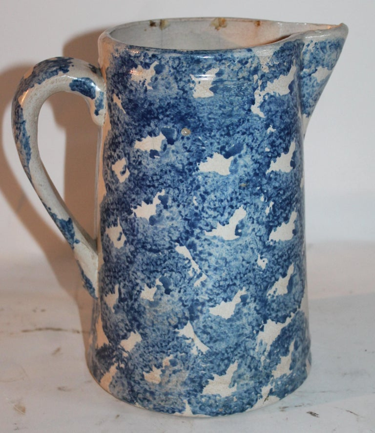 Country 19th Century Design Sponge Ware Pitcher For Sale
