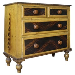 Diminutive Scottish Grained & Yellow Painted Chest of Drawers Folk Art