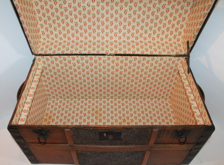 Metal 19th Century Dome Top Trunk For Sale