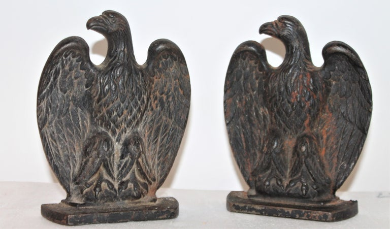 American 19th Century Eagle Iron Bookends, Pair