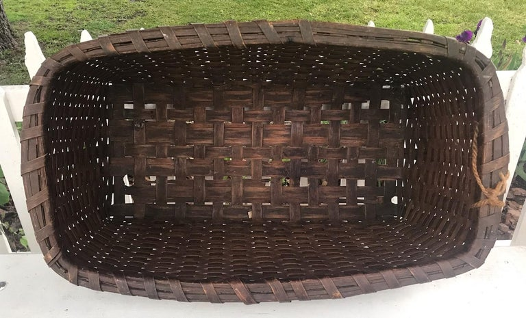 Adirondack 19th Century Early Gathering Basket from New England For Sale