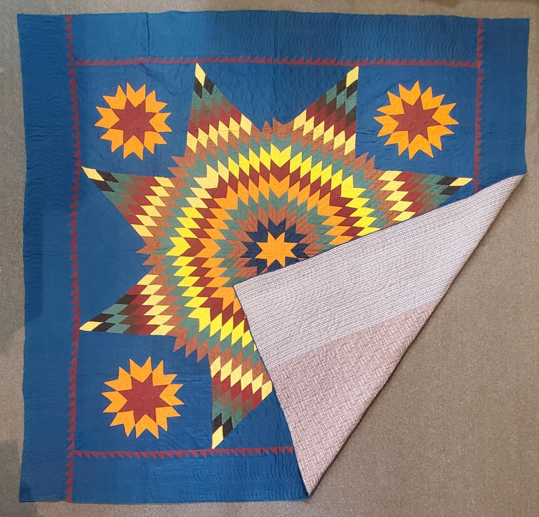 19thc early Lancaster County,Pennsylvania eight point star quilt in pristine condition. The quilt is all cotton and fantastic condition.