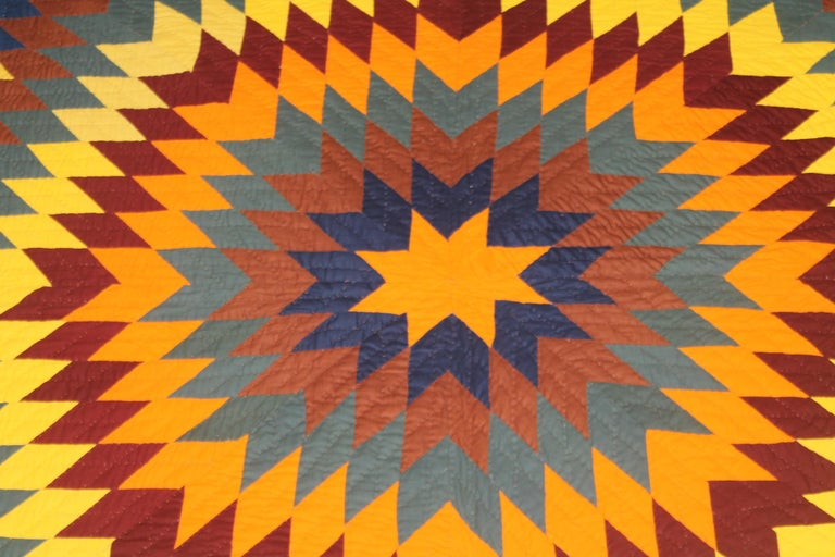 Adirondack 19thc Early Lancaster Co. Pennsylvania Eight Point Star Quilt