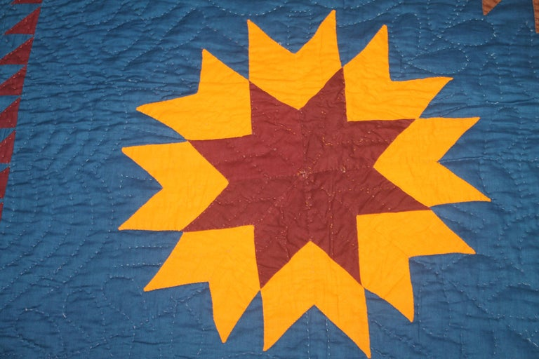 American 19thc Early Lancaster Co. Pennsylvania Eight Point Star Quilt