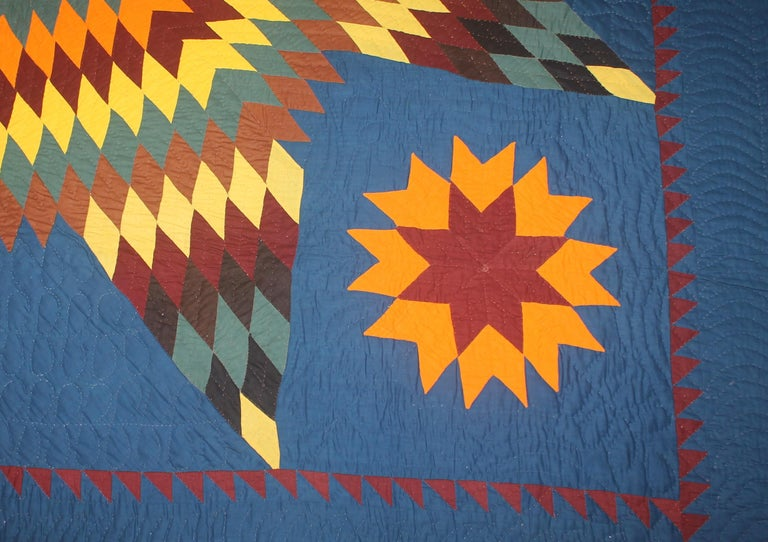 Hand-Crafted 19thc Early Lancaster Co. Pennsylvania Eight Point Star Quilt