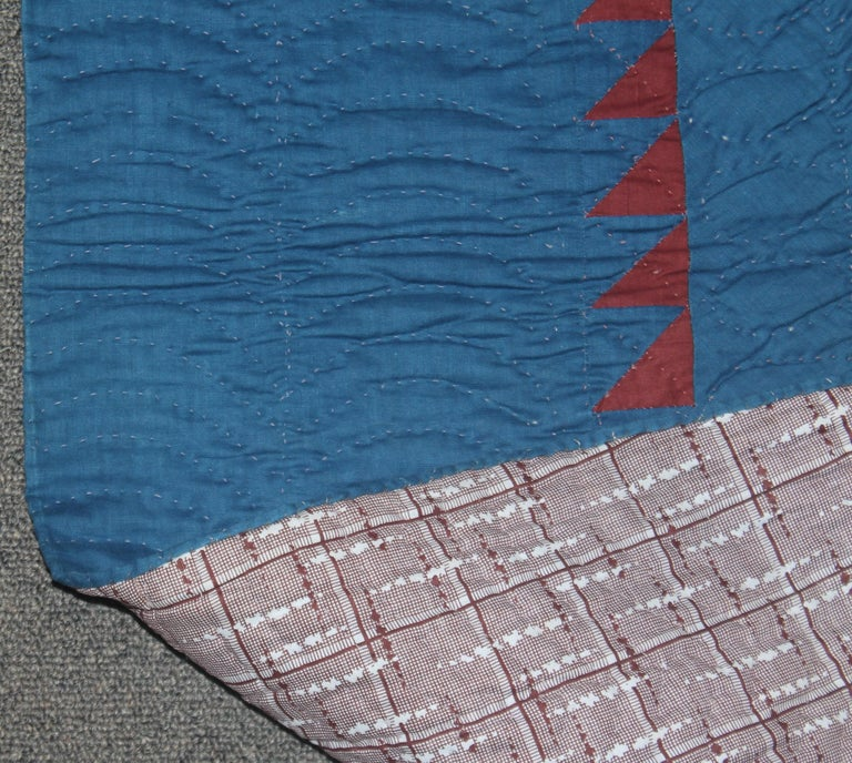 19th Century 19thc Early Lancaster Co. Pennsylvania Eight Point Star Quilt