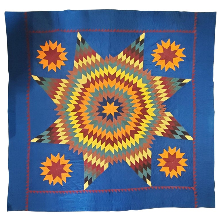 19thc Early Lancaster Co. Pennsylvania Eight Point Star Quilt