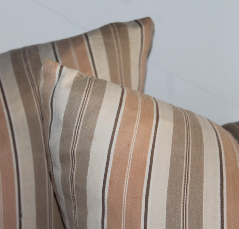 Hand-Crafted 19Thc Early Ticking Pillows, Collection of Four Pillows For Sale