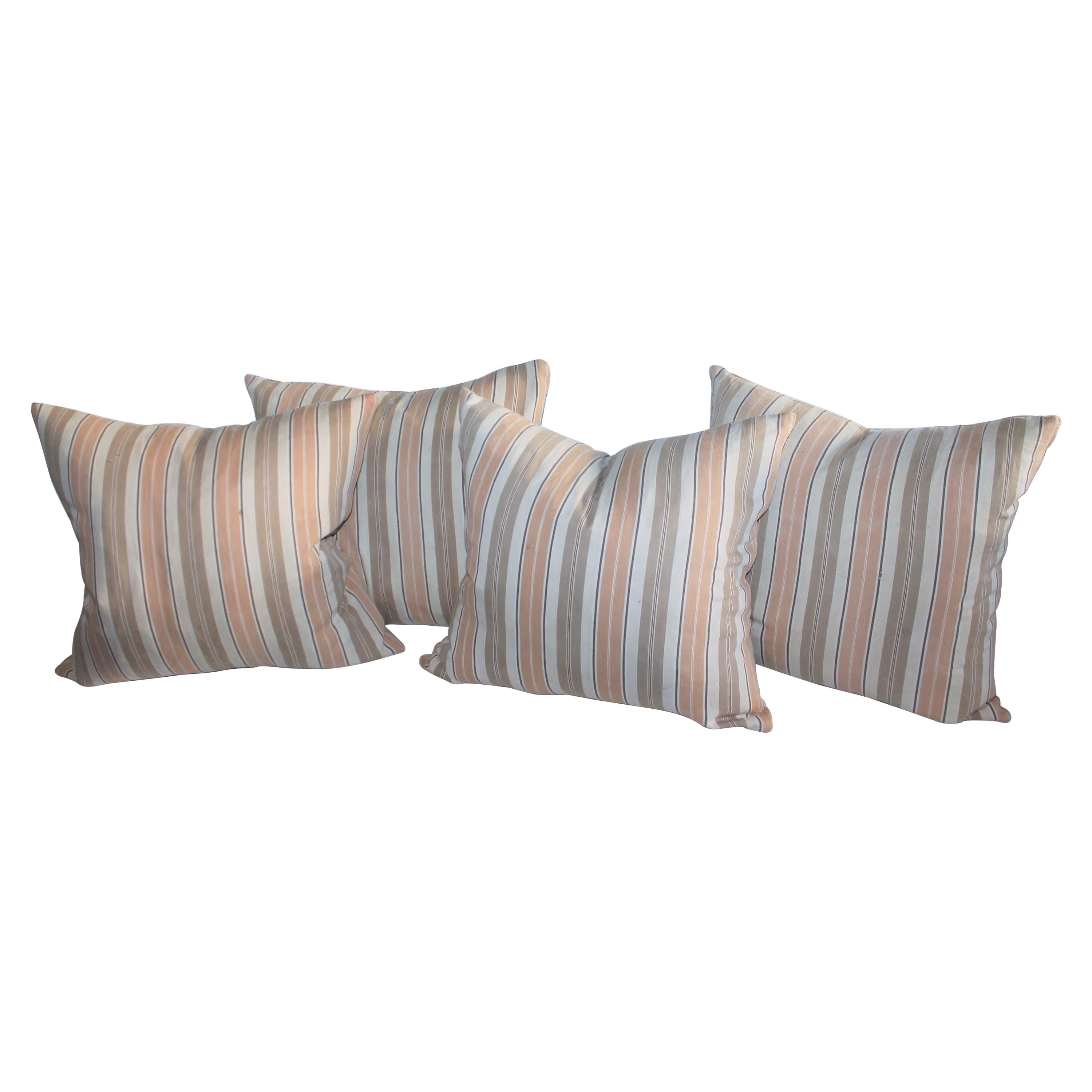 19Thc Early Ticking Pillows, Collection of Four Pillows