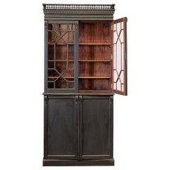 19thC Ebonised Mahogany Vitrine Bookcase